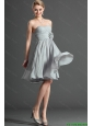 Exclusive Ruching and Hand Made Flower Grey Short Prom Dress