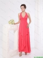 New Style Halter Top Ankle Length Prom Dresses in Red