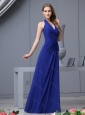 2016 Fashionable Halter Top Ruching Prom Dress in Royal Blue