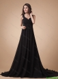 Comfortable Appliques Black Prom Dress with Court Train
