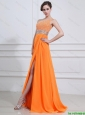 Exquisite Beading and High Slit Orange Prom Dresses with Brush Train 2016