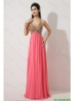 Gorgeous Halter Top Brush Train Prom Dresses in Watermelon Red