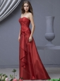 Popular Column Strapless Prom Dresses with Ruching and Hand Made Flowers