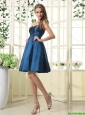 Beautiful A Line Sweetheart Ruched Prom Dresses in Navy Blue