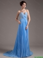 Discount Brush Train Sweetheart Prom Dresses in Baby Blue