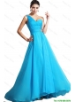Elegant One Shoulder Aqua Blue Prom Dresses with Brush Train