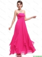 Popular Ankle Length Hot Pink Prom Dresses with Beading