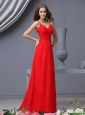 Simple Empire Spaghetti Straps Ruching Red Prom Dresses