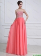 016 Popular Watermelon Sweetheart Prom Dresses with Beading