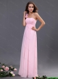 2016 Empire One Shoulder Prom Dresses with Hand Made Flowers