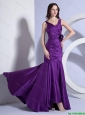 Beautiful Column V Neck Prom Dresses with Hand Made Flowers