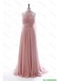 Beautiful Discout Halter Top Pink Prom Dresses with Ruching