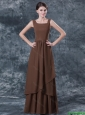 Junior Straps Brown Prom Dresses with Ruching