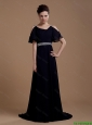 Pretty Empire Straps Prom Dresses with Brush Train in Navy Blue