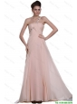 Junior  Beaded Brush Train Prom Gowns with One Shoulder