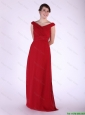 New Arrival V Neck Wine Red Long Prom Dress with Ruching