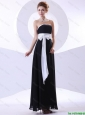 2016 Elegant Strapless Black Prom Dresses with Belt and Bowknot