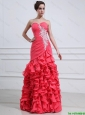 2016 Modest Appliques and Ruffles Mermaid Prom Dress