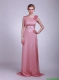2016 Modest Hand Made Flowers and Belt Prom Dress in Pink