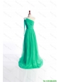 Cheap Affordable Appliques Green Long Prom Dress with Sweep Train for 2016