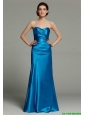 Modest Column Sweetheart Teal Prom Dresses with Zipper Up