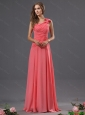 Modest Popular One Shoulder Watermelon Prom Dresses with Ruching