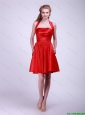Modest Short Ruched Red Prom Dresses with Halter Top