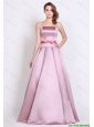 Modest Strapless Brush Train Prom Dresses with Bowknot