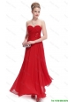 Modest Sweetheart Ruched Red Prom Dresses with Appliques