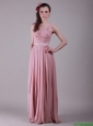 New Arrivals Brush Train Straps Belt Prom Dresses in Peach