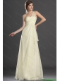 New Style Champagne Brush Train Prom Dresses with One Shoulder