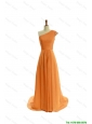 Perfect Gorgeous Ruching One Shoulder Orange Prom Dresses with Brush Train