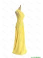 Pretty Classical One Shoulder Long Yellow Prom Dresses with Bowknot