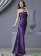 2016 Modest  Sweetheart Column Ruching Prom Dresses in Purple