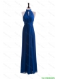Beautiful 2016 Empire Halter Top Prom Dresses with Belt in Blue