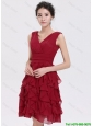 Beautiful V Neck Ruffles Short Prom Dresses in Burgundy