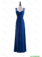 Cheap Custom Made Empire Straps Prom Dresses with Ruching in Blue