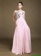 Delicate One Shoulder Baby Pink Prom Dresses with Sequins