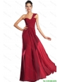 Discount One Shoulder Ruched Prom Dresses in Wine Red