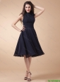 Elegant High Neck Hand Made Flowers Prom Gowns in Navy Blue