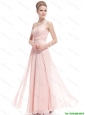 Fashionable Beaded Side Zipper Prom Dresses in Baby Pink