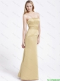 Formal Column Strapless Prom Gowns with Ruching