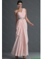 Modest Empire One Shoulder Prom Dresses with Ankle Length