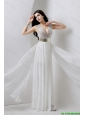 Modest Empire V Neck White Prom Dresses with Beading and Belt