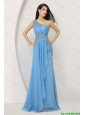 News Arrivals Beaded Baby Blue Prom Dresses with One Shoulder
