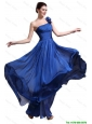 Perfect Royal Blue One Shoulder Prom Dresses with Appliques and Ruching