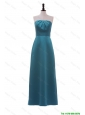 Pretty Classical Strapless Ruching and Bowknot Long Prom Dress in Teal