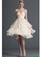 2016 Summer New Arrials Ruching Short Prom Dresses in Champagne