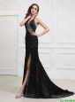 Classical 2016 Halter Top Black Prom Dresses with Beading and High Slit