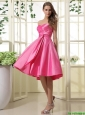 Exquisite Hot Pink Short Prom Dresses with Ruching